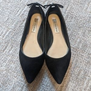 SAKS FIFTH AVE   Black pointed toe flats w/ box